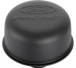 Proform Engine Valve Cover Breather, 3 In Dia, Ford Logo, Push-In Style, Black Crinkle 302-216