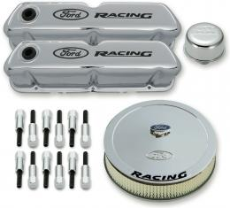 Proform Engine Dress-Up Kit, Chrome w/Black Ford Racing Logo, Fits SB Ford Engines 302-510