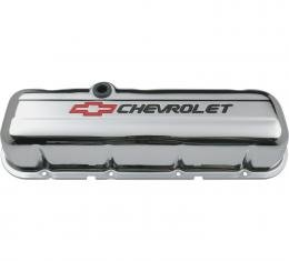Proform Engine Valve Covers, Stamped Steel, Tall, Chrome, w/ Bowtie Logo, Fits BB Chevy 141-813