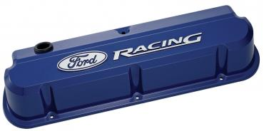 Proform Valve Covers, Slant-Edge Tall, Die Cast, Blue with Raised Ford Logo, SB Ford 302-136