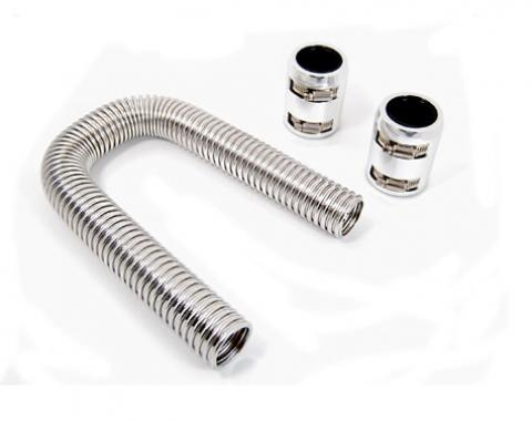 RPC Racing Power Company R7304, Radiator Hose, Stainless Steel, 1-3/4 Inch Diameter, 24 Inch Length, With Hose/ 2 Polished Aluminum End Caps/ 2 Sleeve Adapters/ 4 Reduces/ 4 Hose Clamps