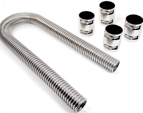 RPC Racing Power Company R7310, Radiator Hose, Stainless Steel, 1-3/4 Inch Diameter, 48 Inch Length, With Hose/ 2 Polished  Aluminum End Caps/ 2 Sleeve Adapters/ 4 Reduces/ 4 Hose Clamps