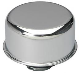 RPC Racing Power Company R9617, Crankcase Breather Cap, Round, 2-3/4 Inch Diameter, Twist On, Chrome Plated Steel