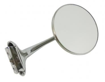 RPC Racing Power Company R6609, Exterior Mirror, 4 Inch Round, Long Arm, Aftermarket Conversion, Single, Chrome Plated, With Mirror/ Chrome Plated Mounting Hardware