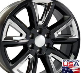 "22"" Fits Chevrolet - Tahoe Wheel - Black with Chrome Inserts 22x9"