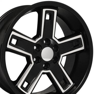 "22"" Fits Chevrolet - Silverado Deep Dish Wheel  - Satin Black Machined Face 22x9.5"