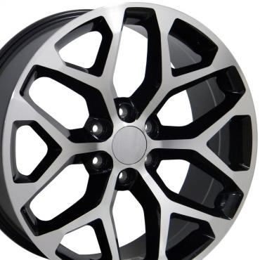 "20"" Fits GMC - Sierra Wheel - Black Mach'd Face 20x9"