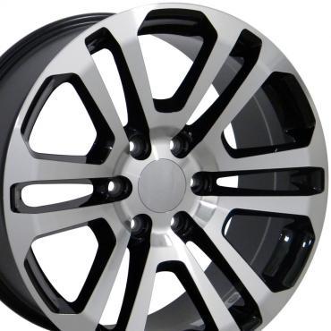 "22"" Fits GMC - Sierra Wheel - Black Mach'd Face 22x9"