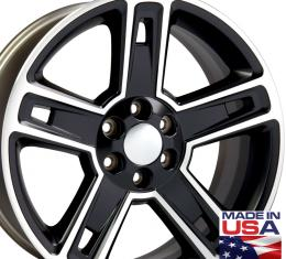 "22"" Fits Chevrolet - Silverado Wheel - Matte Black Machined Face 22x9"