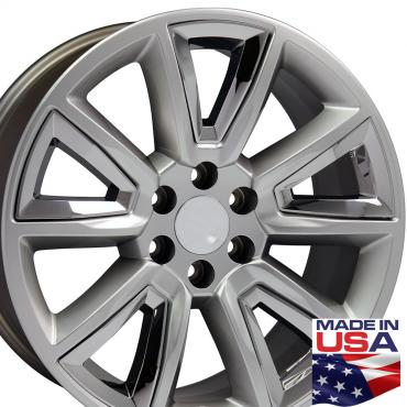 """22"""" Fits Chevrolet - Tahoe Wheel - Hyper Black with Chrome Inserts 22x9"""