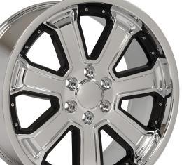 Black Insert Chrome Deep Dish Wheel fits Chevrolet Silverado 22x9.5