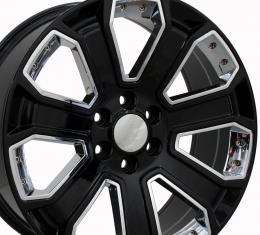 "22"" Fits Chevrolet - Silverado Wheel - Black with Chrome Inserts 22x9"
