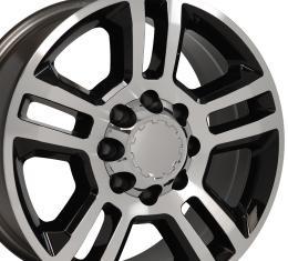 Black Machined Face Truck Rims fit Chevrolet Silverado 2500/3500 - 20x8.5