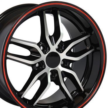 Black Machined Face Red Band Deep Dish Wheel fits Camaro-Firebird (Stingray style) 17x9.5