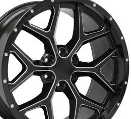 Milled Edge Satin Black Deep Dish Rims fit Chevy Silverado 22x9.5
