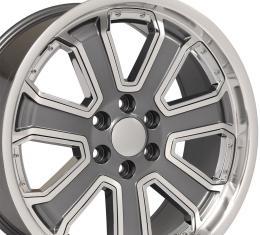 Chrome Insert Gunmetal Machined Face Deep Dish Wheel fits Silverado 22x9.5