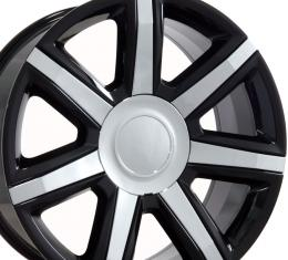 "24"" Fits Cadillac - Escalade Wheel - Black with Chrome Insert 24x10"