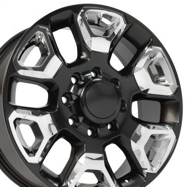 Satin Black Replica Wheel with Chrome Inserts fits Ram 2500-3500 - 20x8