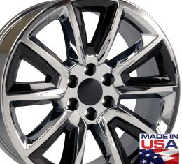 "22"" Fits Chevrolet - Tahoe Wheel - PVD Chrome with Black Inserts 22x9"