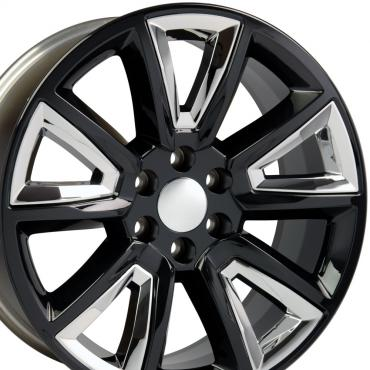 """20"""" Fits Chevrolet - Tahoe Wheel - Black with Chrome Inserts 20x8.5"""
