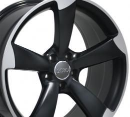 """18"""" Fits Audi - S4 Wheel - Matte Black Mach'd Face 18x8"""