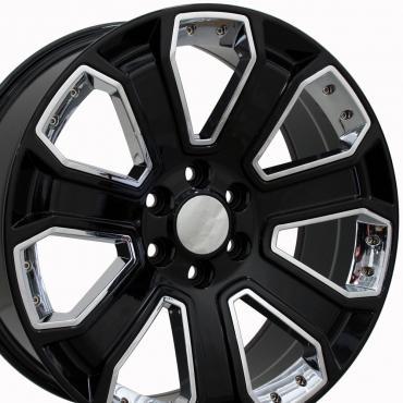 "20"" Fits Chevrolet - Silverado Wheel - Black with Chrome Inserts 20x8.5"