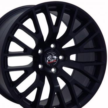 """18"""" Fits Ford - 2015 Mustang GT Wheel - Matte Black Mach'd Face 18x10"""