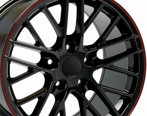 "17"" Fits Chevrolet - C6 ZR1 Wheel - Black Red Band 17x9.5"