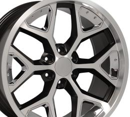 Machined Face Chrome Insert Satin Black Deep Dish Rims fit Chevy Silverado 22x9.5