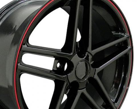 Black Rims with Red Stripe fit Corvette (C6 Z06 style) 17x9.5