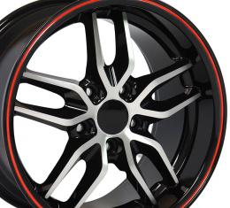 Black Machined Face Red Band Deep Dish Wheel fits Camaro-Firebird (Stingray style) 17x9.5