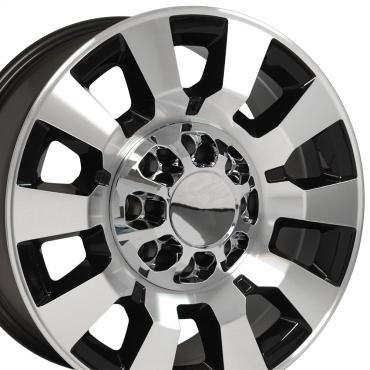 Black Machined Face Truck Rims fit GMC Sierra 2500/3500 - 20x8.5