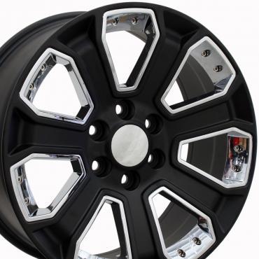 "22"" Fits Chevrolet - Silverado Wheel - Satin Black with Chrome Inserts 22x9"