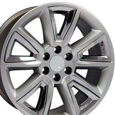 """20"""" Fits Chevrolet - Tahoe Wheel - Hyper Black with Chrome Inserts 20x8.5"""