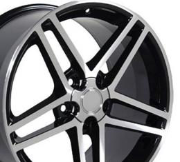 Black Machined Rims fit Corvette (C6 Z06 style) 18x9.5