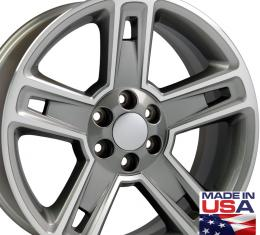 "22"" Fits Chevrolet - Silverado Wheel - Hyper Black Machined Face 22x9"
