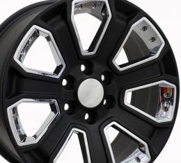 "20"" Fits Chevrolet - Silverado Wheel - Satin Black with Chrome Inserts 20x8.5"