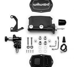 Wilwood Brakes Compact Tandem M/C w/Bracket and Valve (Pushrod) 261-14962-BK