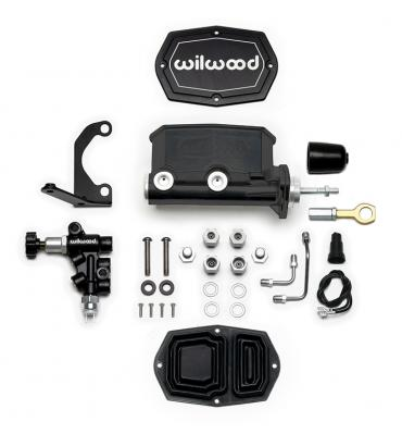 Wilwood Brakes Compact Tandem M/C w/RH Brkt and Valve (Mustang) 261-15666-BK
