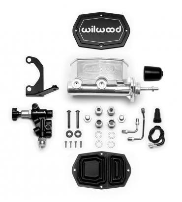 Wilwood Brakes Compact Tandem M/C w/Bracket and Valve (Pushrod) 261-14961-P