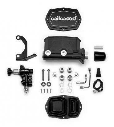 Wilwood Brakes Compact Tandem M/C Kit with Bracket and Valve 261-14964-BK