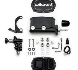 Wilwood Brakes Compact Tandem M/C w/RH Brkt and Valve (Pushrod) 261-15659-BK